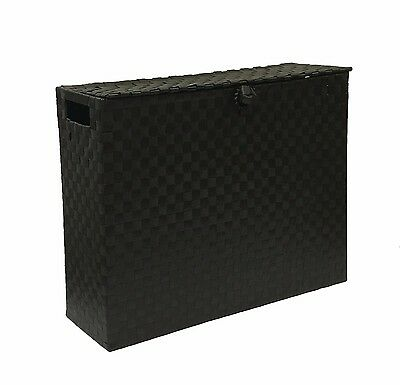 Toilet Roll Holder Bathroom Storage Unit Polypropylene Woven On Metal - Black
