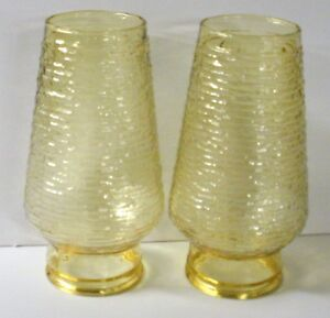 2-Vintage-Amber-Gold-Glass-Chimney-Globes-Shades-for-Light-Lamp