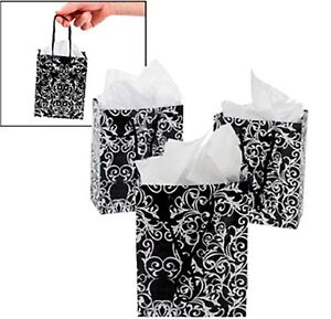 12 Small Glossy Black White Damask Scroll Gift Bags Wedding Party Favors