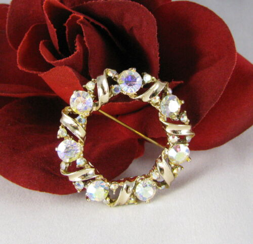 Vintage Dazzling AB Rhinestone Gold tone  Brooch Pin CAT RESCUE