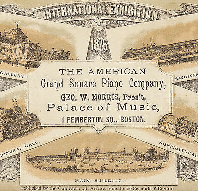 American Grand Square Piano Boston 1876 Philadelphia Centennial Advertising Card