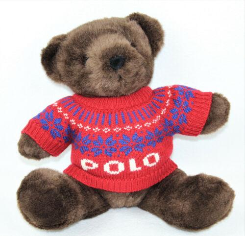 Polo Ralph Lauren VTG 2000 Brown Teddy Bear Red Alpine Sweater Stuffed Plush