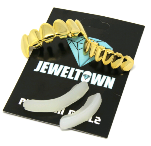New Custom 14k Gold Plated Hip Hop Teeth Grillz Caps Top & Bottom Grill Fang Set Body Jewelry