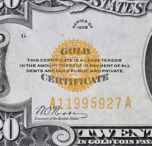 $20 1928 UNC Gold Certificate A11995927A Single Year Issue twenty dollar