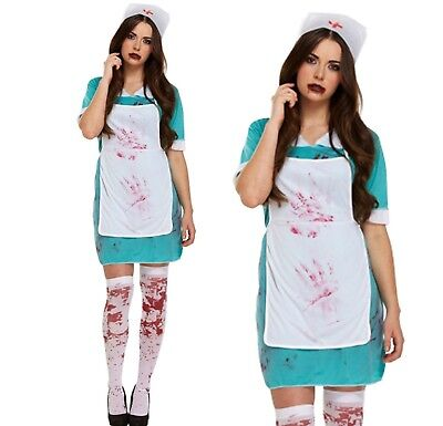 HALLOWEEN WOMENS BLOODY NURSE OUTFIT FANCY DRESS COSTUME PARTY SCARY + - Scary Nurse Costume Halloween
