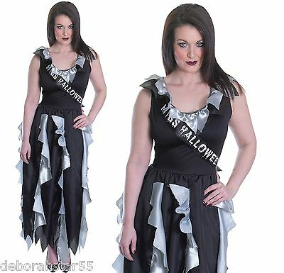 Ladies Zombie Prom Queen Gothic Fancy Dress Halloween Costume Size 12 14 - Gothic Prom Queen Kostüm