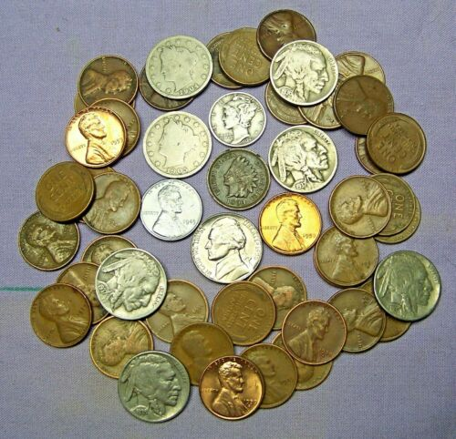 Starter Collection MIX Lot of 53 OLD U.S. Coins with Mercury Silver Dime *100919