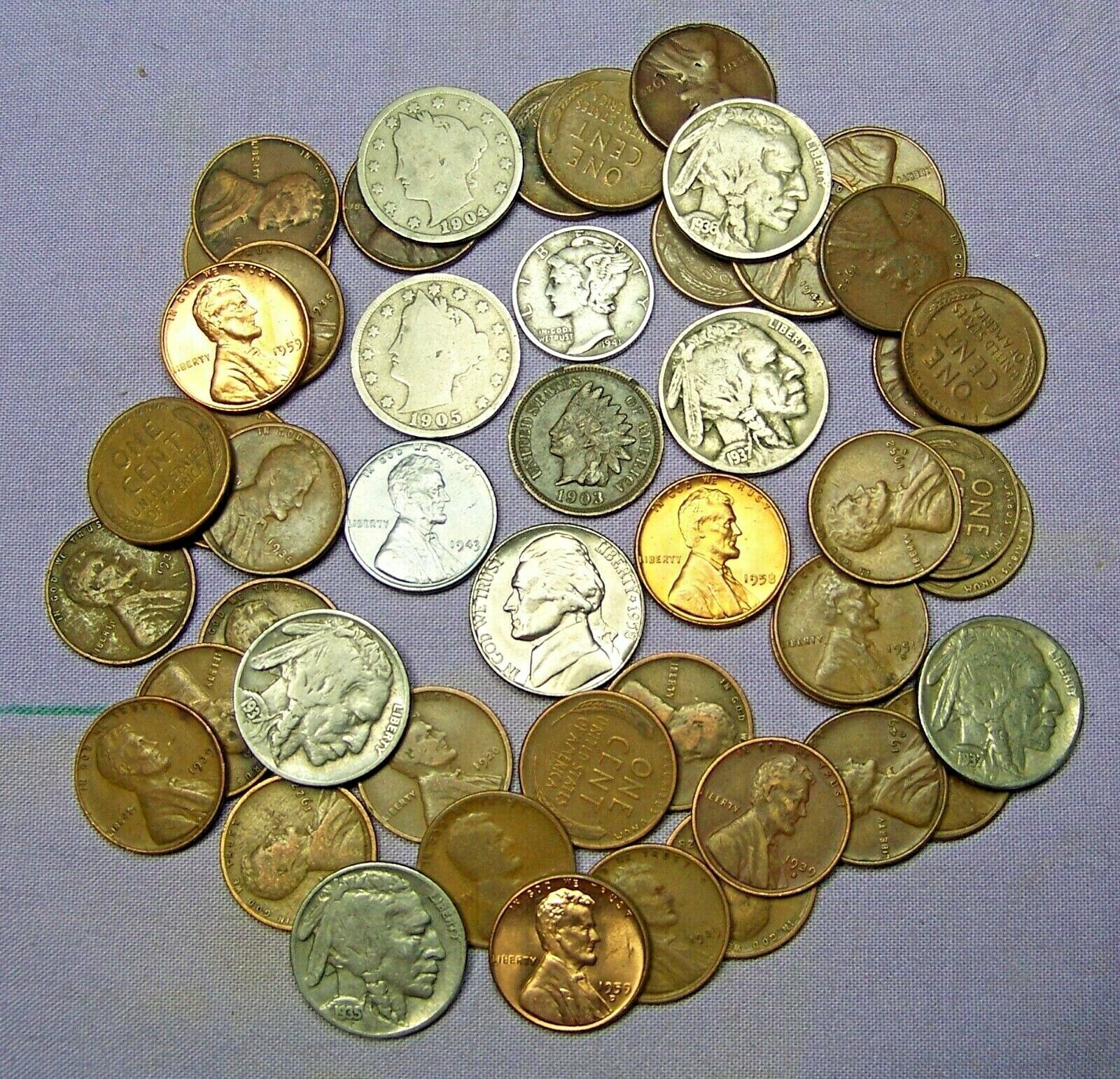 Best  STARTER COLLECTION MIX LOT OF 50 OLD U.S. COINS WITH MERCURY SILVER DIME *100919