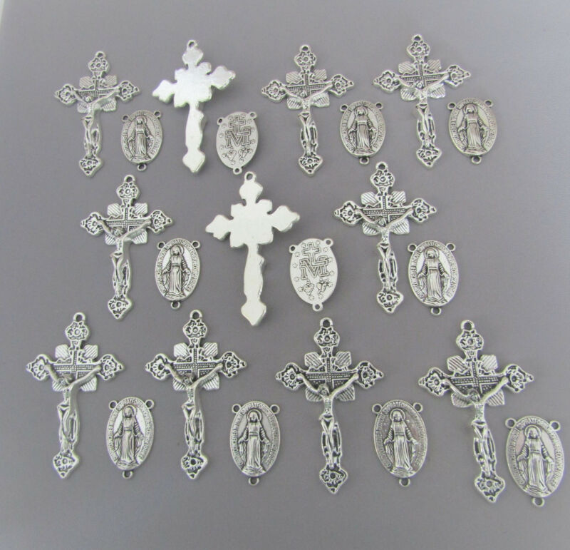 22 pc Rosary Crucifixes 11 crosses & 11 Centers rosaries part finish SILVER New