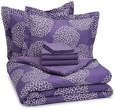 AmazonBasics 7-Piece Bed-In-A-Bag - Full/Queen, Purple Flora