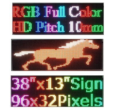 Led Sign Full Color 38x 12 P10 Hd Rgb Programmable Scrolling Message Display