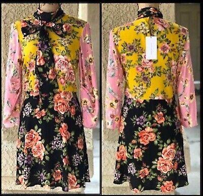 ZARA Women Floral Patchwork Neck Tie Dress Size S 8443/847 BNWT