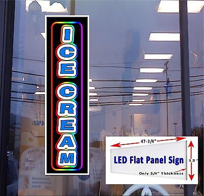Ice Cream Window Sign 48x12 Flat Panel Led Light Box Sign