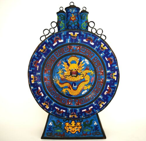 RARE VERY LARGE CHINESE CLOISONNE DRAGON MOON VASE 18th / 19th QING DYNASTY RARE