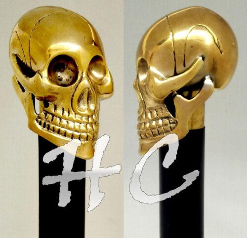 Solid+Brass+Men%27s+Skull+Head+Black+Walking+Stick+cane+Victorian+Wooden+cane+36%22