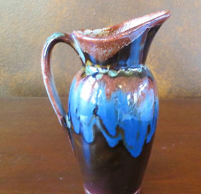 Dryden Arkansas Art Pottery Pitcher Vase Brown Drip