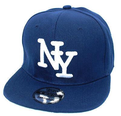 Kinder Snapback Kappe Cappy Sommer New York Cap Mütze kids NY Navyblau Blau Snap Brim Hut