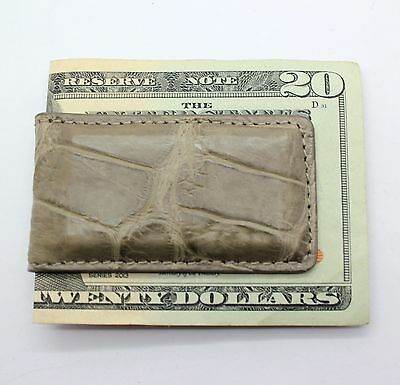 Naturally Distressed Mink Matte Genuine Alligator Magnetic Money Clip MADE IN US