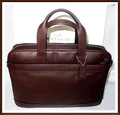 NWT $450 Coach Mens Leather Hamilton Briefcase Laptop Commuter Bag BROWN RECEIPT