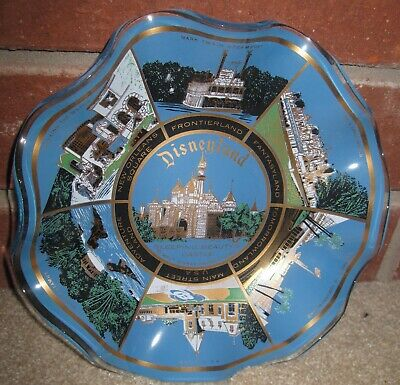 Disneyland Ash Tray Dish RARE Vintage Sleeping Beauty's Castle Blue, Gold trim