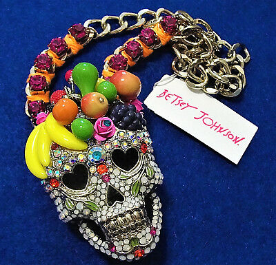Rare HUGE Fruit Sugar SKULL Rhinestone Opalescent Betsey Johnson Signed Necklace