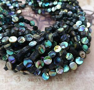 Strand of 60 Rainbow Abalone Beads 6mm Round Paua Shell Beads