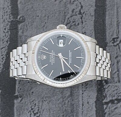 MINT Mens Rolex Datejust 16234 in Steel and 18ct White Gold - Black Dial.