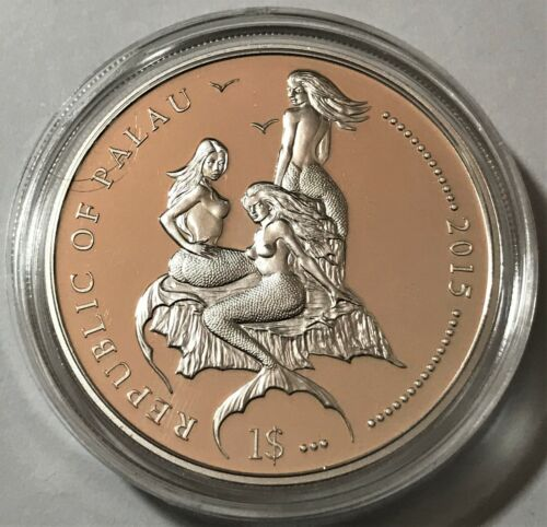 2015 Palau 1 dollar, Damselfish, Mermaid, wildlife, animal, BU coin