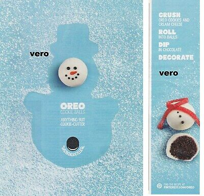 OREO 2014 ad print cookies balls clipping SNOWMAN advert KRAFT FOODS vtg Xmas ()