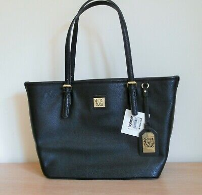"Brand New with Tags Anne Klein ""Perfect Tote"" Hand Bag Black Leather"
