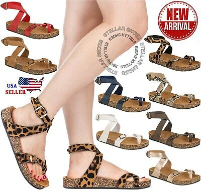 NEW Women Sandals Slide Buckle T-Strap Cork Footbed Platform Flip Flop Shoes