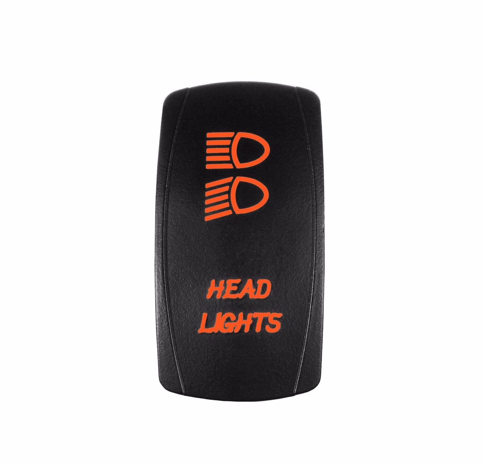 Laser HEAD LIGHTS Rocker Switch OFF-ON-ON led Light 20A 12V 6 pin ORANGE
