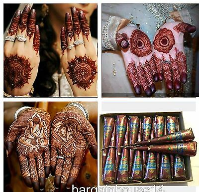 Fresh Henna -  12 Kaveri fresh quality natural henna mehndi temporary tattoo body art kit