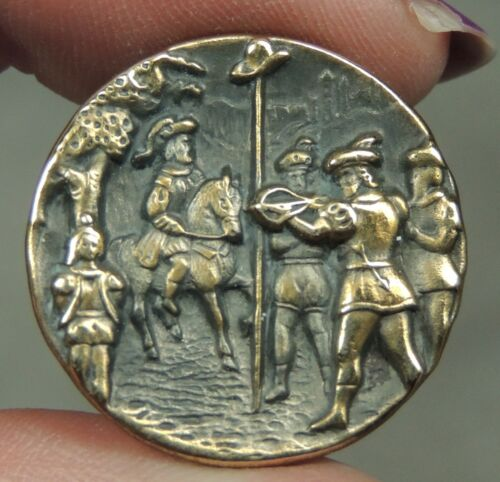 ANTIQUE SILVERED BRASS PICTURE BUTTON ~  WILLIAM TELL SCENE     METAL 7/8""