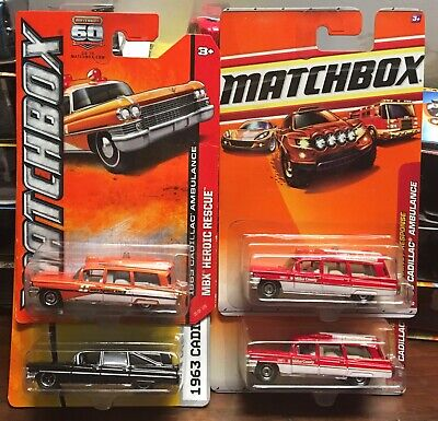 "Fantastic Lot Of (4) Matchbox  "" 1963 Cadillac Hearse & Ambulance"