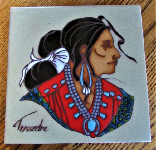 Cleo Teissedre Ceramic Tile Wall Art Hand Painted Native American Squaw Signed