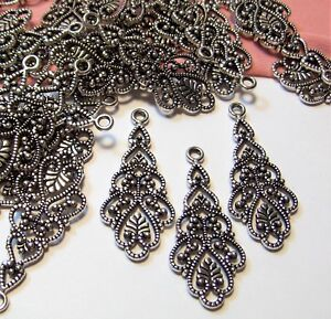 30 PCS~ANTIQUE SILVER ORNATE FILIGREE CONNECTOR-EARRING DROPS~CHANDELIER