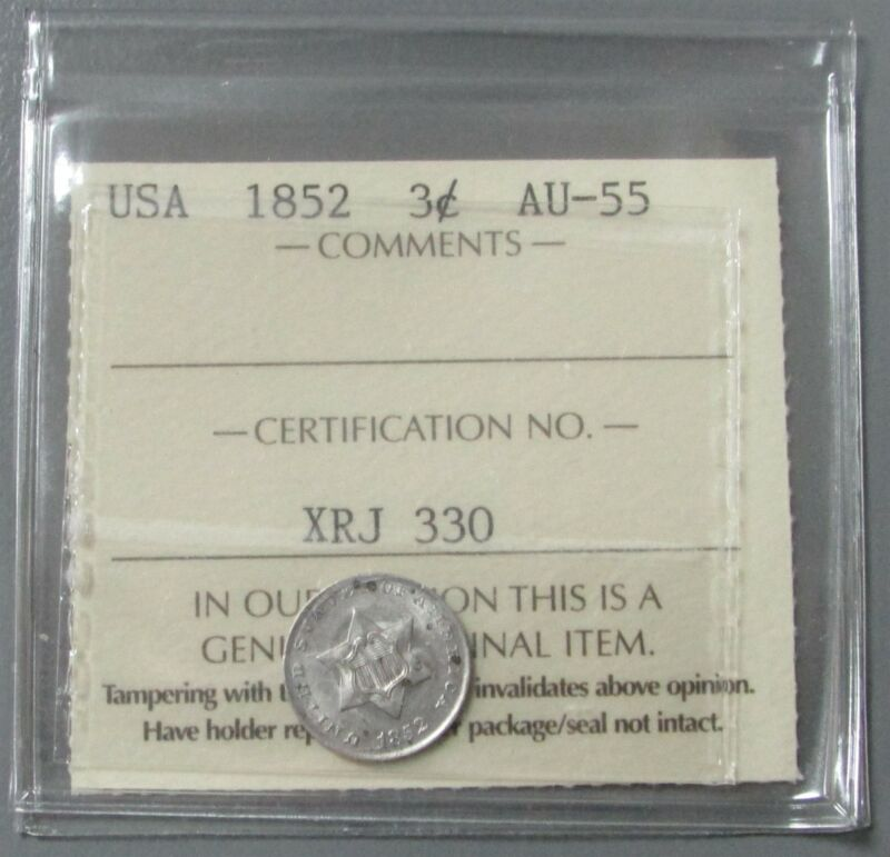 1852 USA SILVER TYPE 1 THREE CENT PIECE ICCS ABOUT UNC