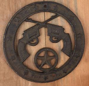 Texas Star Six Shooters Pistols Plaque Rustic Western Decor