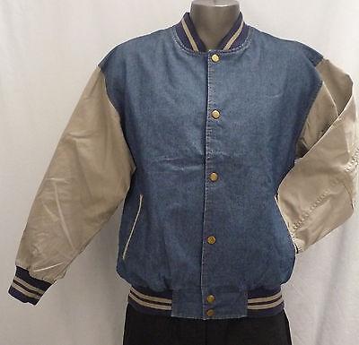 Light Weight, Mid Blue Denim / Cotton Sleeves Baseball Jacket (Size L)