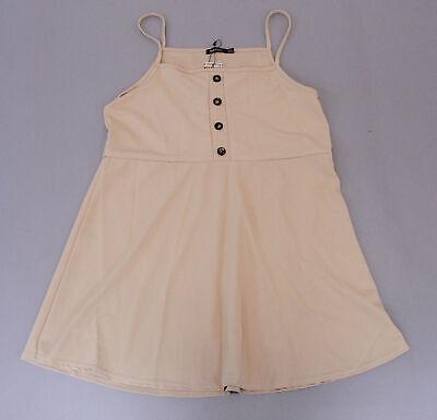 Boohoo Women's Plus Button Detail Pinafore Dress LP7 Stone Size US:12 UK:16 NWT