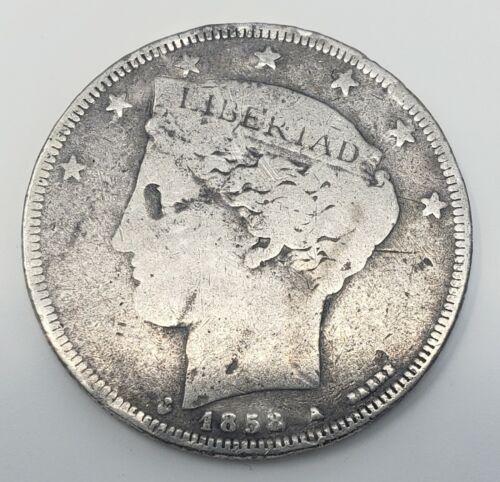 1858 Venezuela 5 Reales Silver Coins Gram 11.5