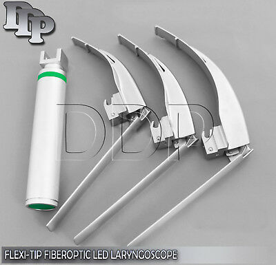 Mccoy Flexi-tip Fiberoptic Led Laryngoscope Set- Mac 1 2 3handle