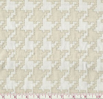 (P Kaufmann Contour Bisque Beige White  Houndstooth Woven Home Decor Fabric BTY)