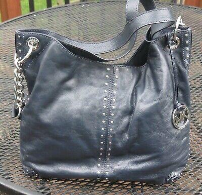 Michael Kors Handbag ASTOR navy BLUE Shoulder Tote Purse Leather studded handbag
