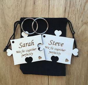 Personalised Anniversary Wedding Gift 2 Piece Jigsaw Keyrings Solid Wood Keyring