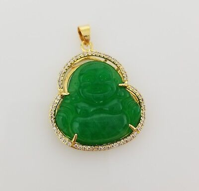 Buddha necklaceebay 1 mens 18k gold plated cz green jade buddha pendant chain necklace mozeypictures Image collections
