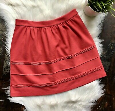 J. CREW A-line Stretch Mini Skirt Coral Papaya Women's 2 EUC