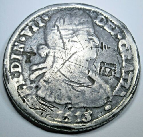 1813 Spanish Mexico Chihuahua Countermark Silver Cast 8 Reales Antique Coin