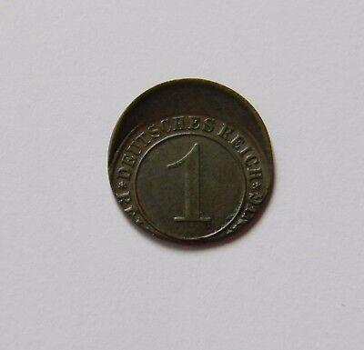 WEIMAR: 1 Reichspfennig 1934 ???, J. 313, prägefrisch/unc., STARK DEZENTRIERT !!
